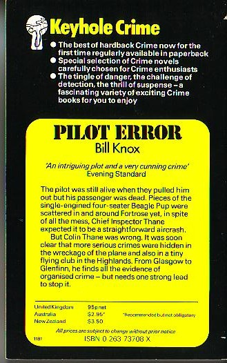 Bill Knox  PILOT ERROR magnified rear book cover image