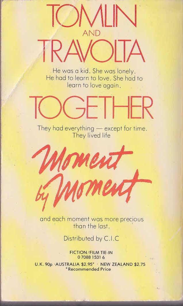 Darcy O'Brien  MOMENT BY MOMENT (Tomlin & Travolta) magnified rear book cover image