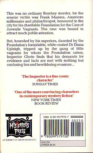 H.R.F. Keating  INSPECTOR GHOTE'S GOOD CRUSADE magnified rear book cover image