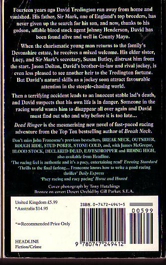 John Francome  DEAD RINGER magnified rear book cover image