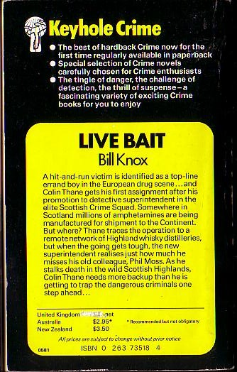 Bill Knox  LIVE BAIT magnified rear book cover image
