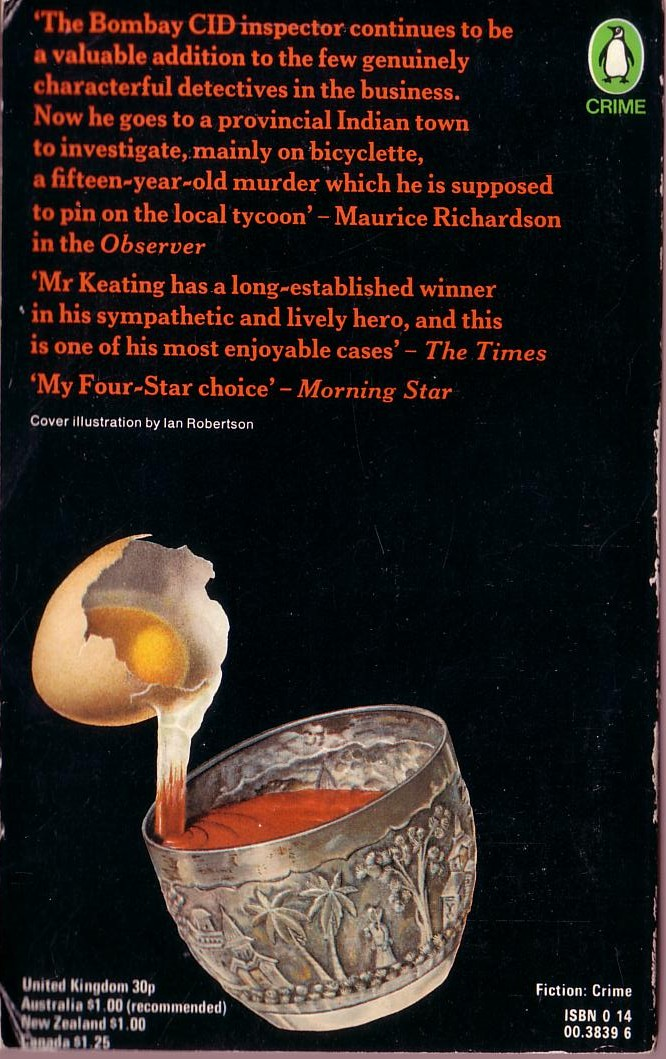 H.R.F. Keating  INSPECTOR GHOTE BREAKS AN EGG magnified rear book cover image