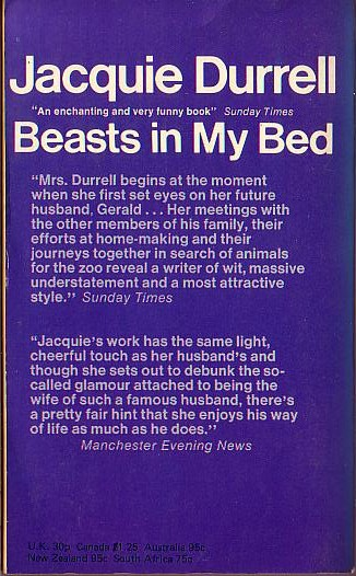 Jacquie Durrell  BEASTS IN MY BED magnified rear book cover image