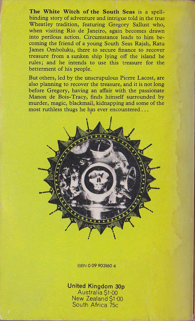 Dennis Wheatley  THE WHITE WITCH OF THE SOUTH SEAS magnified rear book cover image