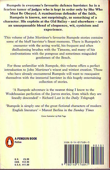 John Mortimer  THE BEST OF RUMPOLE magnified rear book cover image