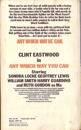 Gerald Cole  ANY WHICH WAY YOU CAN (Clint Eastwood) magnified rear book cover image