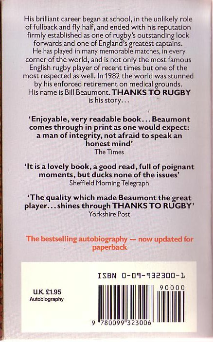 Bill Beaumont  THANKS TO RUGBY. The Autobiography magnified rear book cover image