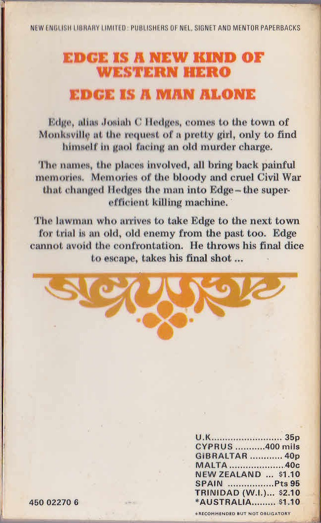 George G. Gilman  EDGE 16: THE FINAL SHOT magnified rear book cover image