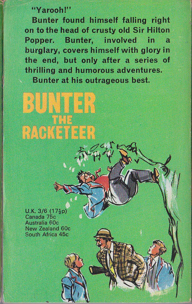 Frank Richards  BUNTER THE RACKETEER magnified rear book cover image