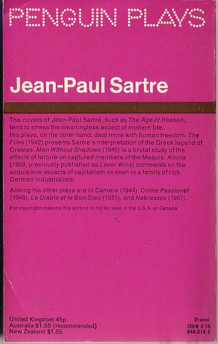 a character analysis of jean paul sartres the flies Jean paul sartre: existentialism the the flies, huis clos, les mains sales in the analysis of nothingness provides the key to the phenomenological.