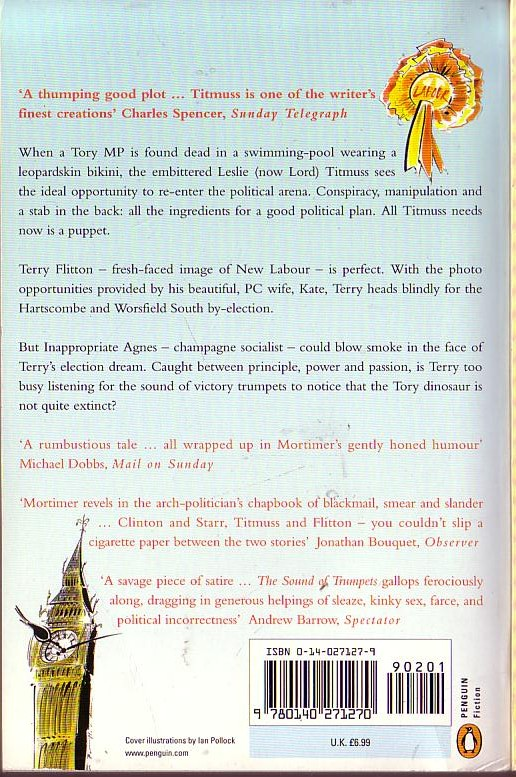 John Mortimer  THE SOUND OF TRUMPETS magnified rear book cover image