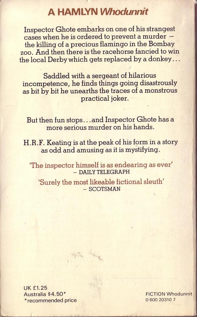 H.R.F. Keating  INSPECTOR GHOTE PLAYS A JOKER magnified rear book cover image