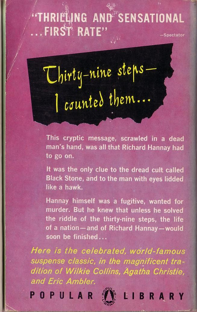 John Buchan  THE THIRTY-NINE STEPS magnified rear book cover image