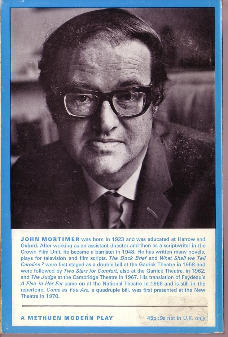 John Mortimer  COME AS YOU ARE magnified rear book cover image